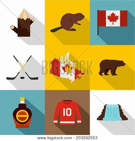 Canada travel icon set. Flat style set of 9 Canada travel vector icons for web design