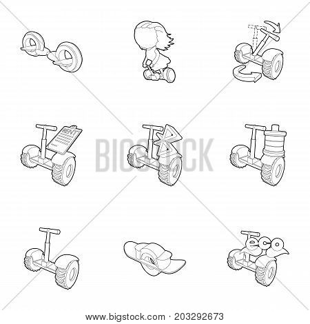 Electric scooter rent icons set. Outline set of 9 electric scooter rent vector icons for web isolated on white background