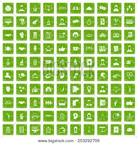 100 coherence icons set in grunge style green color isolated on white background vector illustration