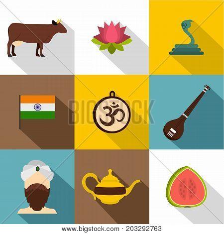 Landmarks of India icon set. Flat style set of 9 iandmarks of India vector icons for web design