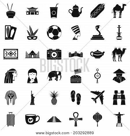 Country icons set. Simple style of 36 country vector icons for web isolated on white background