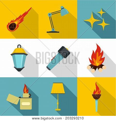 Sources of light icon set. Flat style set of 9 sources of light vector icons for web design