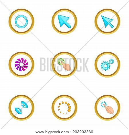 Hand pointer icons set. Cartoon set of 9 hand pointer vector icons for web isolated on white background