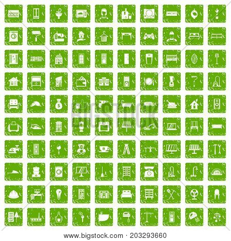 100 comfortable house icons set in grunge style green color isolated on white background vector illustration