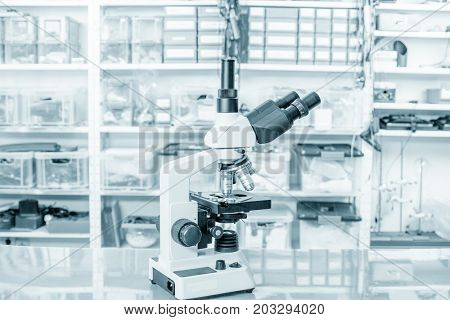 Microscope in science microbiological laboratory