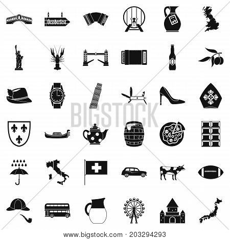 Italy icons set. Simple style of 36 italy vector icons for web isolated on white background