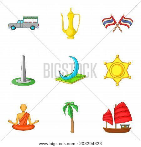 Illumination icons set. Cartoon set of 9 illumination vector icons for web isolated on white background