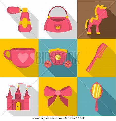 Princess accessories icon set. Flat style set of 9 princess accessories vector icons for web design