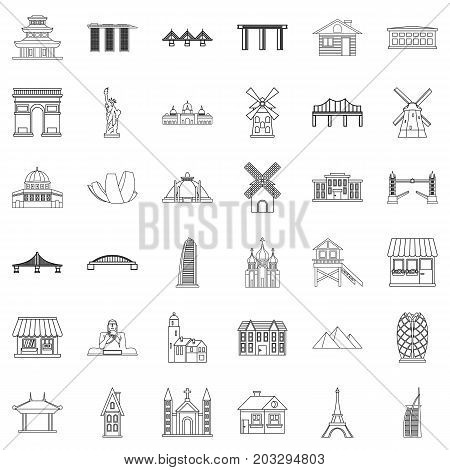Statue icons set. Outline style of 36 statue vector icons for web isolated on white background
