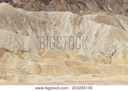 View from Zabriskie Point California USA. Desert panorama. Geological formations.