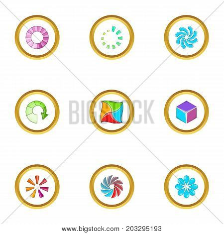 Upload cursor icons set. Cartoon set of 9 upload cursor vector icons for web isolated on white background