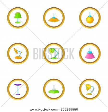 Lighting fixture icons set. Cartoon set of 9 lighting fixture vector icons for web isolated on white background