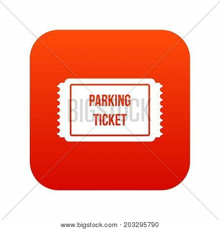 Parking ticket icon digital red for any design isolated on white vector illustration