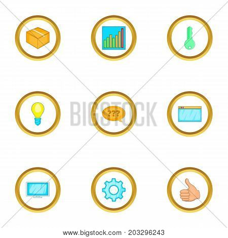 Computer setting icons set. Cartoon set of 9 computer setting vector icons for web isolated on white background