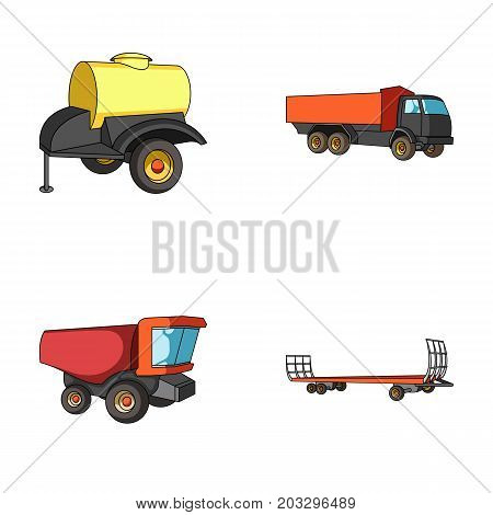 Trailer with a barrel, truck and other agricultural devices. Agricultural machinery set collection icons in cartoon style vector symbol stock illustration .