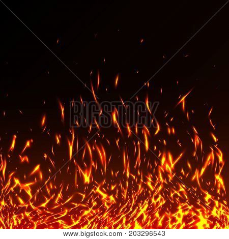 Fire Flames With Sparks Isolated On Black Background. Hot Realistic Fire Texture For You Design. Nig