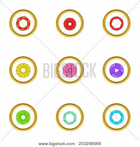Zoom icons set. Cartoon set of 9 zoom vector icons for web isolated on white background