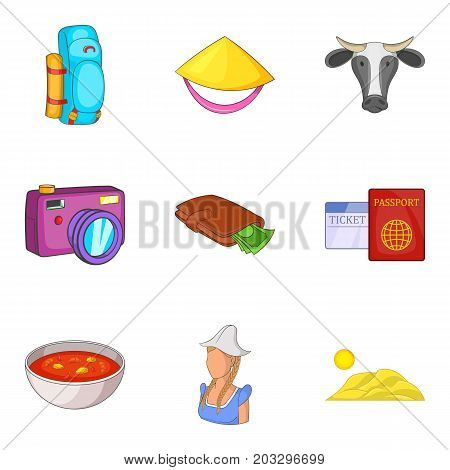 New World icons set. Cartoon set of 9 new world vector icons for web isolated on white background