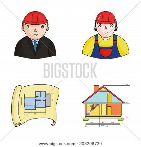 Engineer-constructor, construction worker, site plan, technical drawing of the house. Architecture set collection icons in cartoon style vector symbol stock illustration .