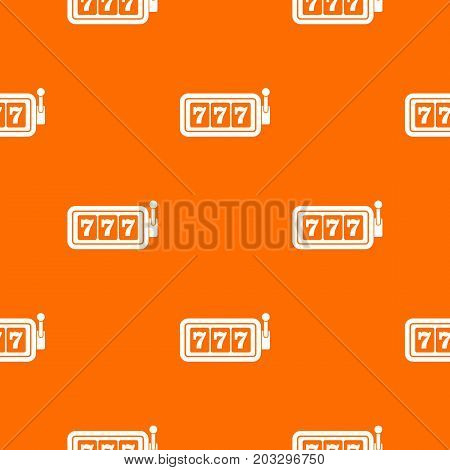 Lucky seven on slot machine pattern repeat seamless in orange color for any design. Vector geometric illustration