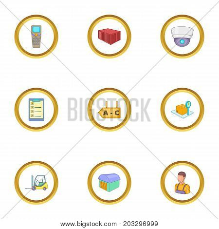 Receipt of goods icons set. Cartoon set of 9 receipt of goods vector icons for web isolated on white background