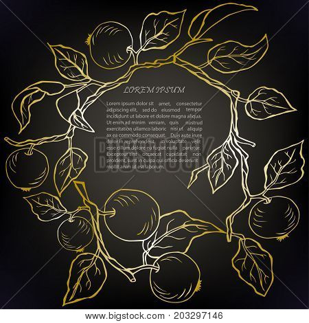 Wreath with golden apples isolated on background. Design element. Text copy frame template. It can be used for flyers, cover, invitation, birthday, greetings, Thanksgiving, Shana Tova card. Vector