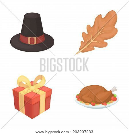 Hat of a pilgrim, oak leaf, gift in a box, fried turkey.Canada thanksgiving day set collection icons in cartoon style vector symbol stock illustration .