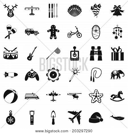 Children icons set. Simple style of 36 children vector icons for web isolated on white background