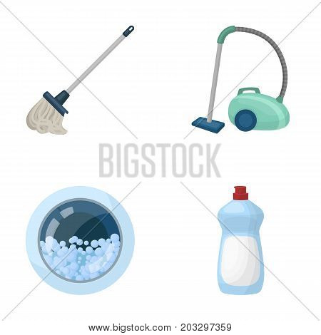 A mop with a handle for washing floors, a green vacuum cleaner, a window of a washing machine with water and foam, a bottle with a cleaning agent. Cleaning set collection icons in cartoon style vector symbol stock illustration .