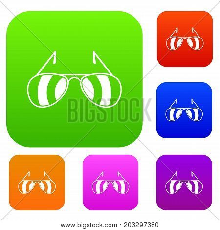 Sunglasses set icon in different colors isolated vector illustration. Premium collection
