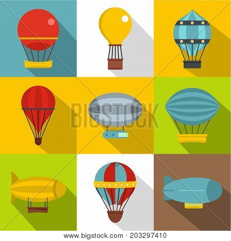 Airship balloons icon set. Flat style set of 9 airship balloons vector icons for web design