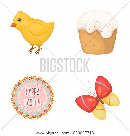 Easter cake, chicken, butterfly and greeting sign.Easter set collection icons in cartoon style vector symbol stock illustration .