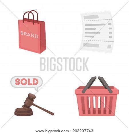 Bag and paper, check, calculation and other equipment. E commerce set collection icons in cartoon style vector symbol stock illustration .