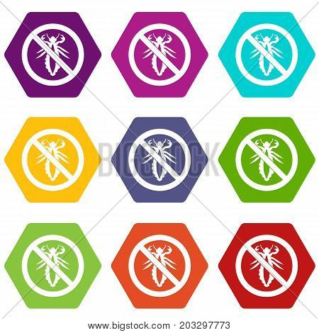 No louse sign icon set many color hexahedron isolated on white vector illustration