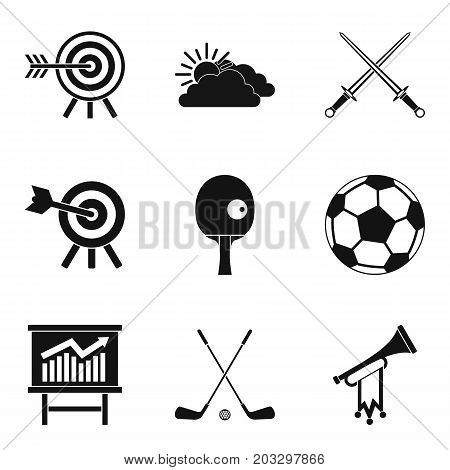 Target hit icons set. Simple set of 9 target hit vector icons for web isolated on white background