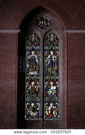 ROME, ITALY - SEPTEMBER 02: Archangels on the stained glass of All Saints' Anglican Church, Rome, Italy on September 02, 2016.