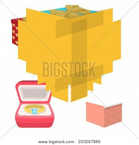 A box with a gift for a wedding, a bride in a veil and a dress, a ring in a diamond engagement ring with a diamond, boxes with gifts. Wedding set collection icons in cartoon style vector symbol stock illustration web.