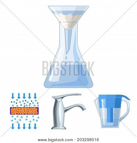 Filter, filtration, nature, eco, bio .Water filtration system set collection icons in cartoon style vector symbol stock illustration .