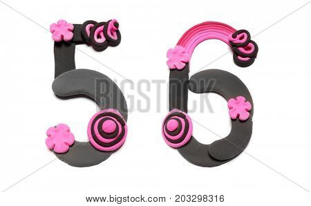 Color plasticine numbers, isolated. Emo style
