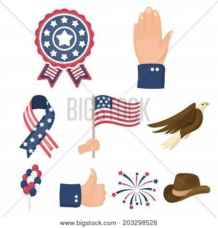 Patriot Day set icons in cartoon style. Big collection of Patriot Day vector symbol stock