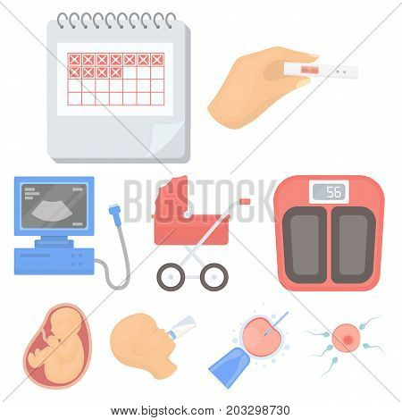 Pregnancy set icons in cartoon style. Big collection of pregnancy vector symbol stock