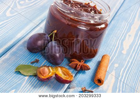 Fresh Plum Marmalade In Jar, Ripe Fruits And Spices On Boards, Healthy Sweet Dessert
