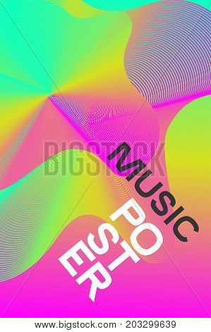 Pink poster electronic music. Colour pastel flyer disco. Billboard nightclub party event. Colorful lines. Vector illustration