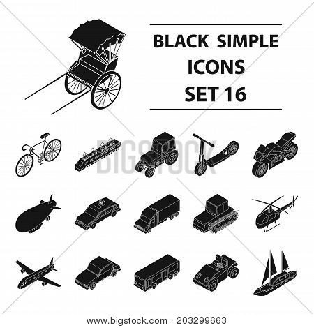 Transportation set icons in black design. Big collection of transportation vector symbol stock illustration