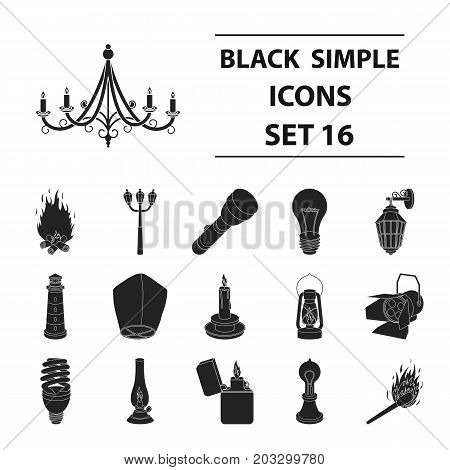 Light source set icons in black style. Big collection of light source vector symbol stock