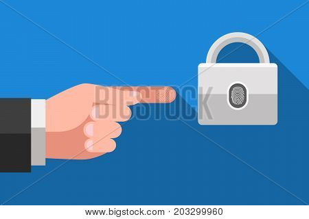 Hand is extending to lock fingerprint as key. Access to data using fingerprint info. Information security cybersecurity concept