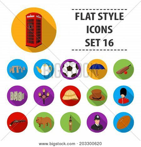 England country set icons in flat design. Big collection of England country vector symbol stock illustration