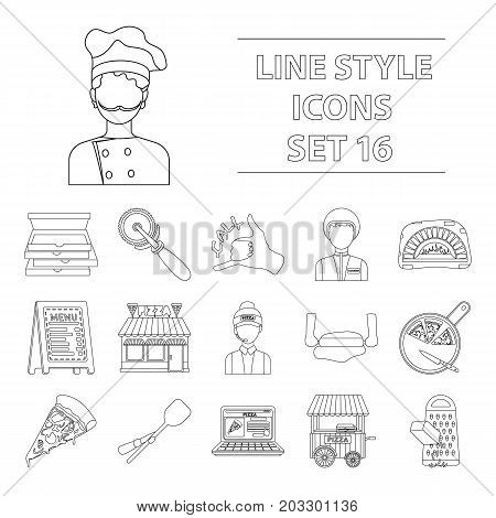 Pizza and pizzeria set icons in outline style. Big collection of pizza and pizzeria vector symbol stock