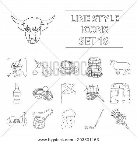 Scotland country set icons in outline design. Big collection of Scotland country vector symbol stock illustration