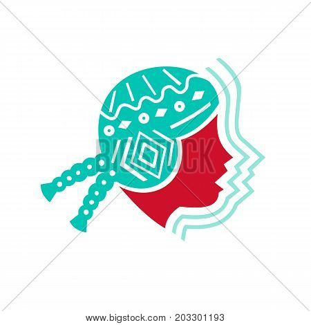 Icon style illustration of Peruvian Girl wearing Hat viewed from Side with echo sound volume sign on isolated background